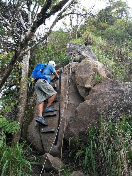 Steps over the boulder