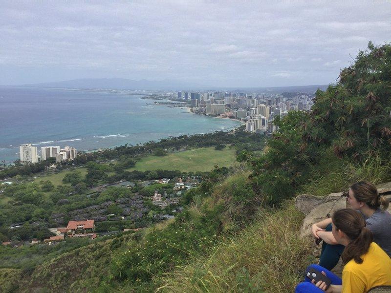 Enjoying the view from Diamond Head