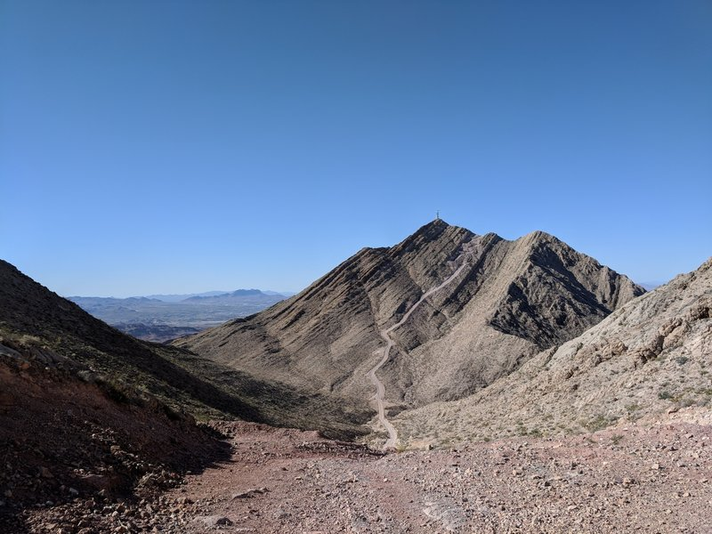 Looking south from the false summit to the top of Frenchman Mountain