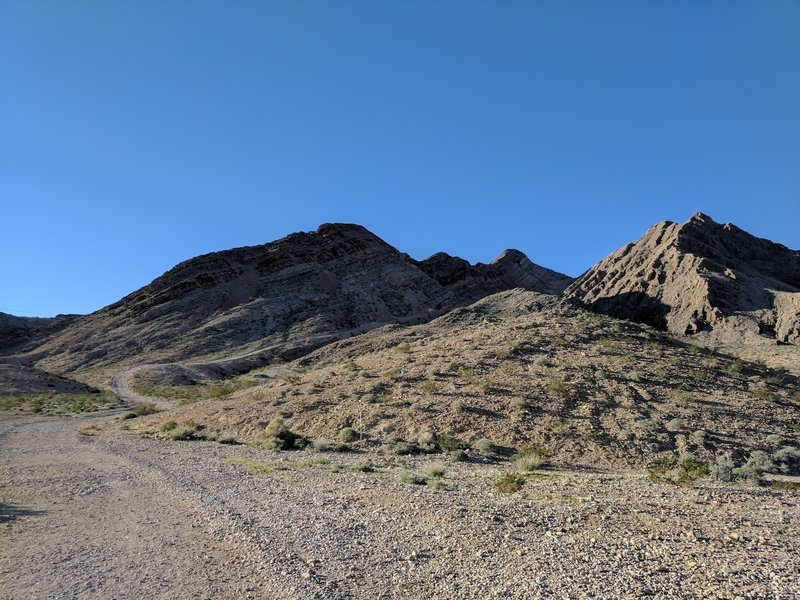 Looking south toward the first incline from the parking lot at Frenchman Mountain trailhead.