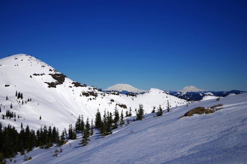 Silver Star (L), Mount Saint Helens (center), and Mount Rainier (R)