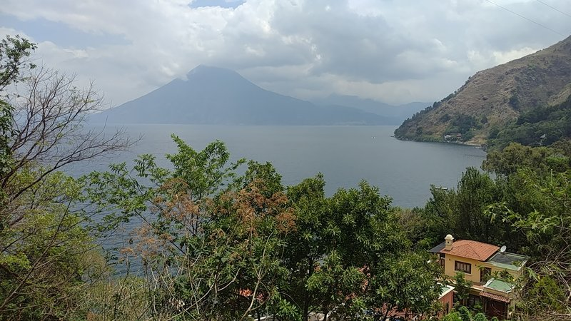 A vista of the San Pedro volcano on the other side of the lake.