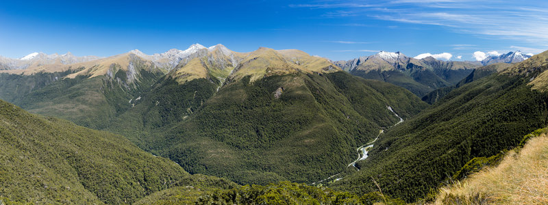 A rewarding view across the Haast Valley towards Lindsay Peak from Brewster Track
