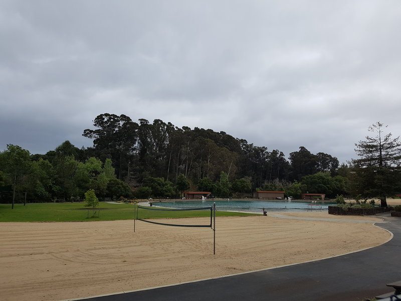 Swimming lagoon and beach volleyball court