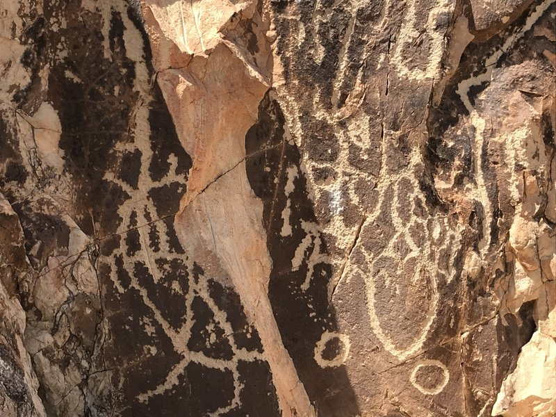 Closeup of pictographs on The Chimneys