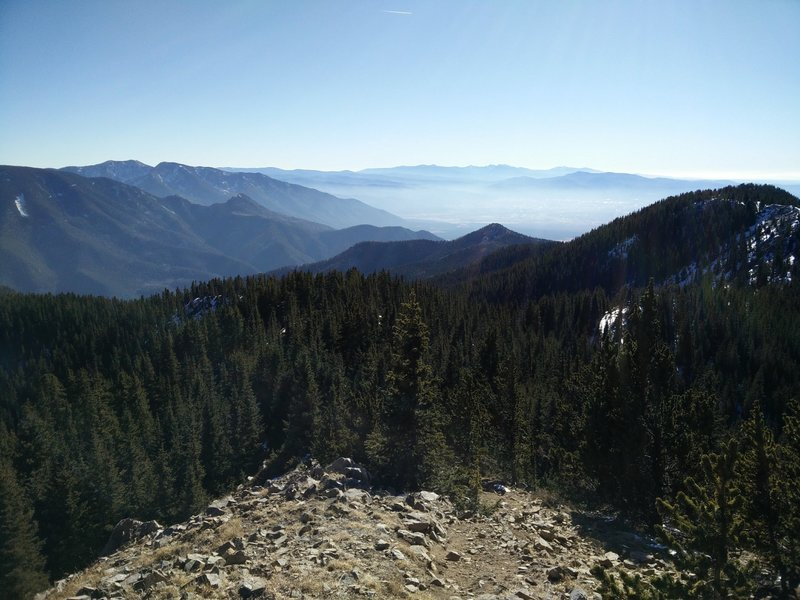 A hazy view of Taos from Lobo Peak