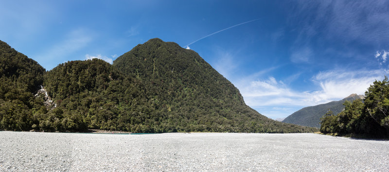 Haast River bed with Roaring Billy Falls on the left