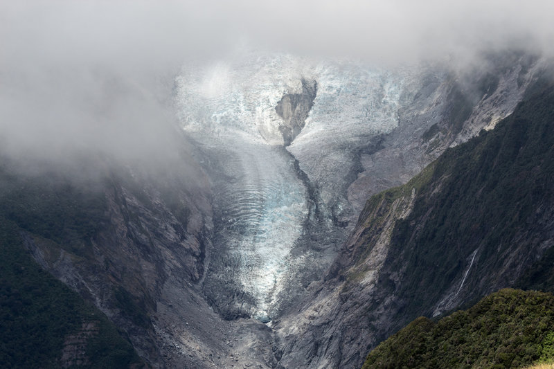 Franz Josef Glacier from Alex Knob under a cloud cover