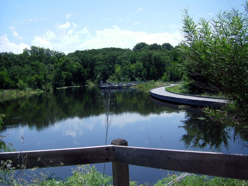 South Pond, looking at the fishing pier from the outdoor classroom