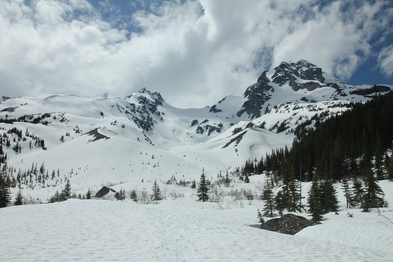 Mount Matier and Mount Joffre from Cerise Creek Winter Route