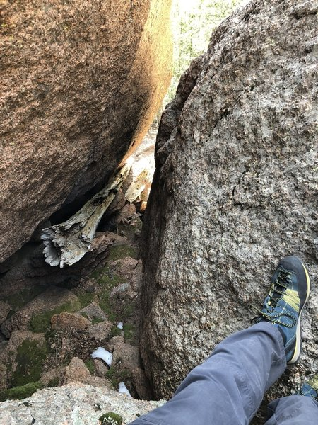 Part of the rock scramble. Have to squeeze between these two boulders to continue.