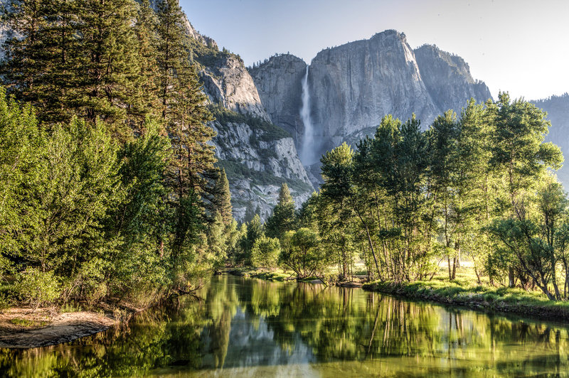 View from bridge on Yosemite Falls and Merced River