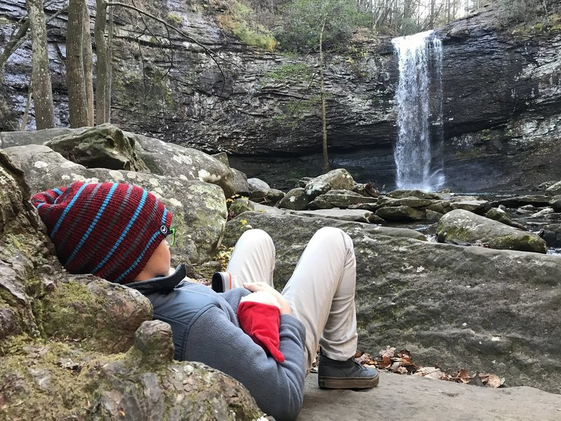 Enjoying a moment of quiet at Cherokee Falls
