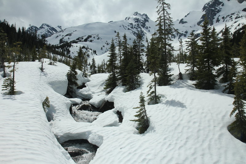 Upper part of Cerise Creek, with Mount Matier in the background, on Cerise Creek Winter Route