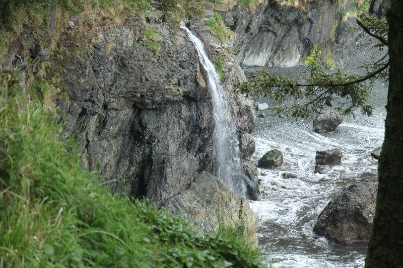Coastal waterfall on JDF Marine Trail, just southeast of Sombrio Beach