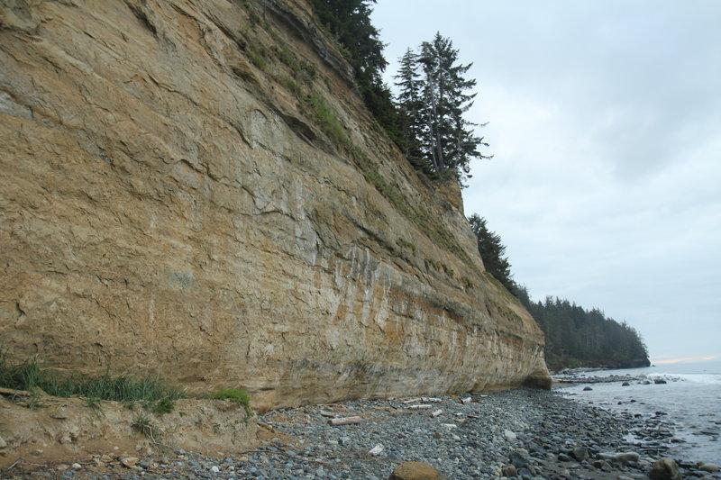 Sandstone rock cliff on Bear Beach, JDF Marine Trail