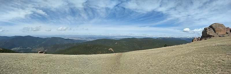 The highest point of the loop with a fantastic panoramic view of the Mosquito Range.