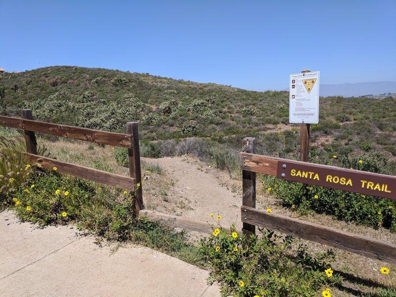 Upper Wildwood Avenue trailhead looking north toward Santa Rosa Valley