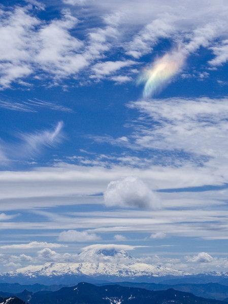 Rainbow cloud over Rainier