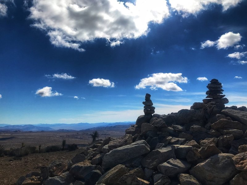 Cairns at the top of Ryan Mountain
