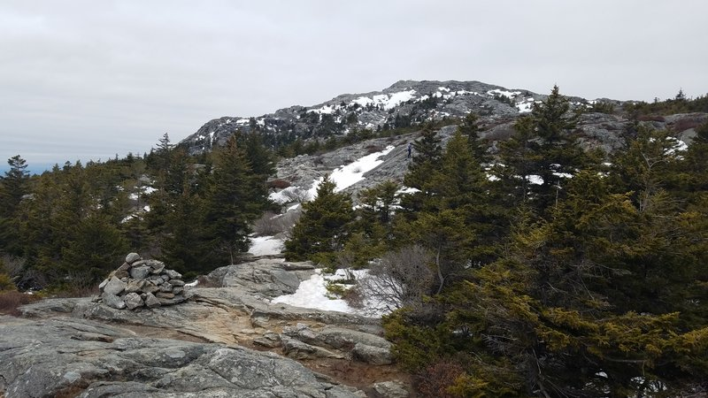 A look up at the peak of Mount Monadnock