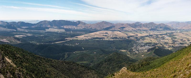 Vast views across the Hanmer Springs plain from above the treeline