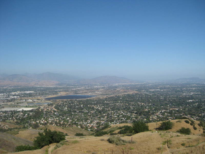 View to the southeast - Van Norman Reservoir in the middle distance; Verdugo Mountains, San Gabriel Mountains, and Burbank in the distance