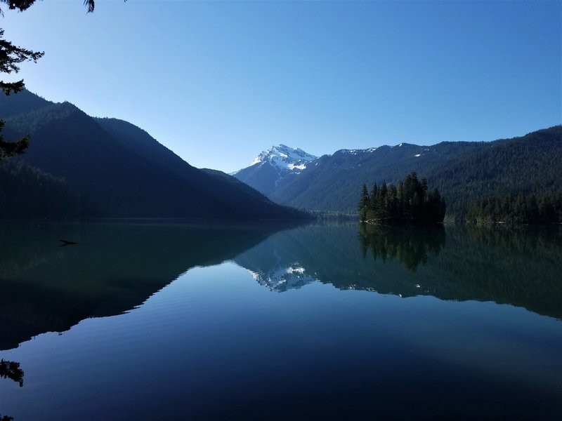 Late morning view of Johnson Peak and Packwood Lake.