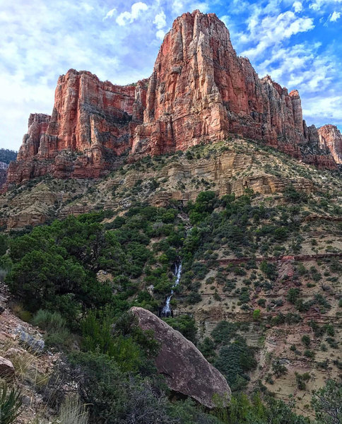 Taking in the sights and sounds of Roaring Springs from the North Kaibab Trail.