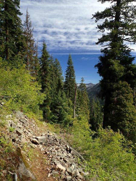 View of Tom Mountain from the lower switchbacks on the Middle Fork Trail.