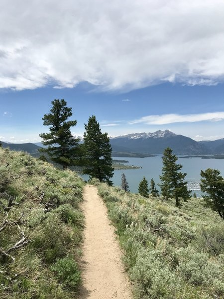Singletrack with view of Lake Dillon