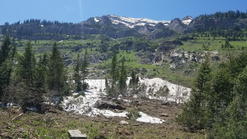 Lots of waterfalls and a few patches of snow still there in Mid-June.