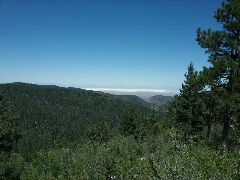 Looking west from the overlook with White Sands on the horizon.