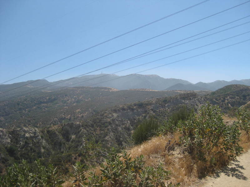 The trail ahead, climbing a ridgeline.