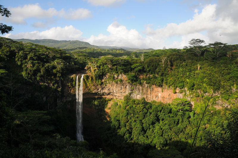 Chamarel Falls from the upper viewpoint on a perfect day
