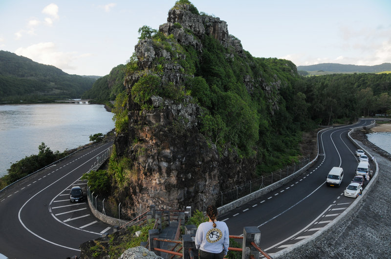 A view from the overlook towards the rock spire and road bend.