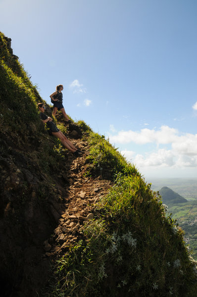 Enjoying the incredible views along the final ascent to Le Pouce