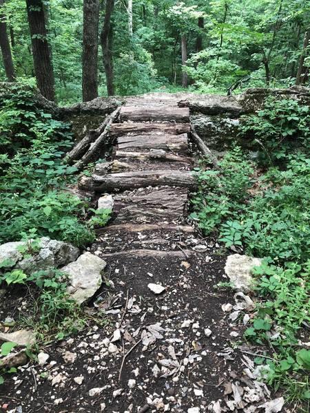 A shortcut over a huge, flat rock.