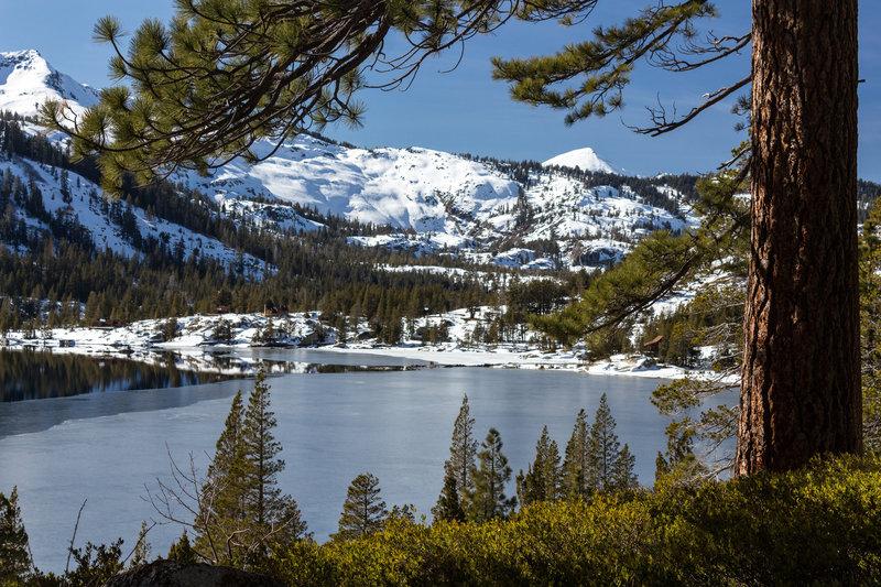 Lower Echo Lake through the trees on the Tahoe Rim Trail