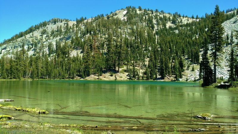 The clear waters of Cliff Lake lie in a cirque formed by a shoulder of Reading Peak.