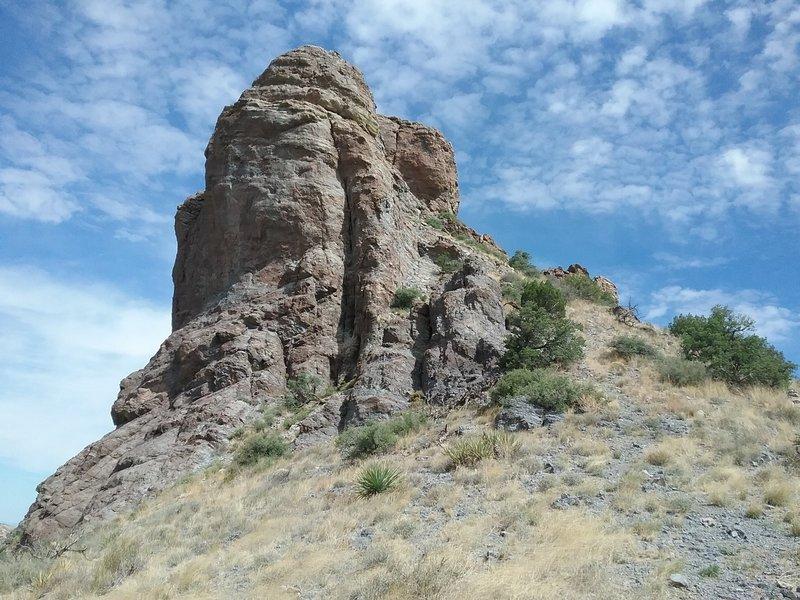 Big rock formation above the saddle