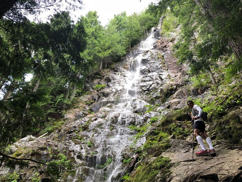 Teneriffe Falls on 7/4/2018 (End of the Teneriffe Falls Trail; Start of the Kamikaze Trail on the right)