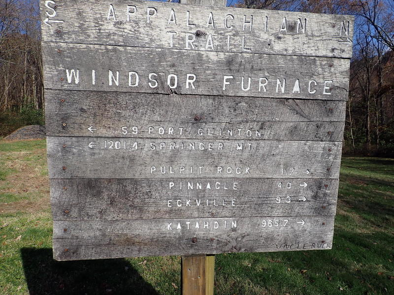 AT sign at site of Windsor Furnace. 1201.4 miles from Springer Mt, 965.7 miles from Katahdin.