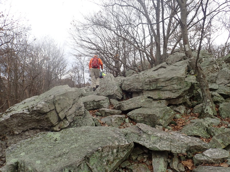 Rocky section of Valley Rim trail just before the top and Pulpit Rocks