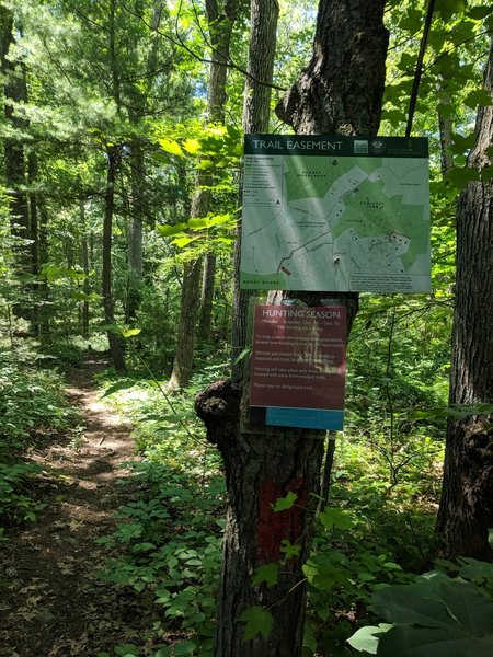 Rock Woods trail map showing the trail easement connecting Rock Woods with Powissett Farm. Note, photo is taken from trailhead looking towards Rock Woods, Powissett Farm is opposite direction for reference when on trail.