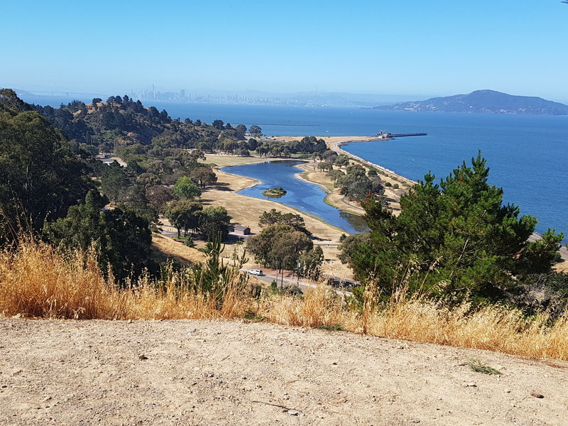 Views of Angle Island, San Francisco and the park on the way to the ridge
