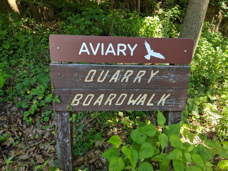Sign for the Aviary and quarry boardwalk