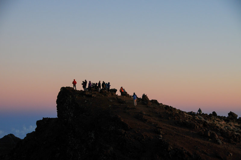 Plenty of room on the summit of Piton Des Neiges to watch the sun come up.