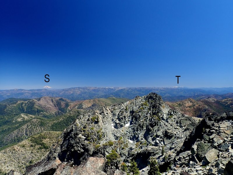 Mount Shasta (S) and the Trinity Alps (T) from atop Preston