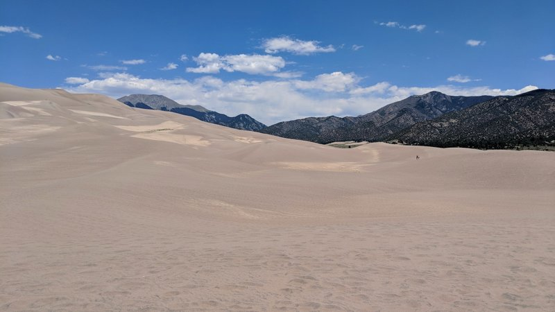 The wonderful ever changing sands of Great Sand Dune National Park. Notice the small human dot in the right third of the picture for a little perspective of how enormous these dunes are.